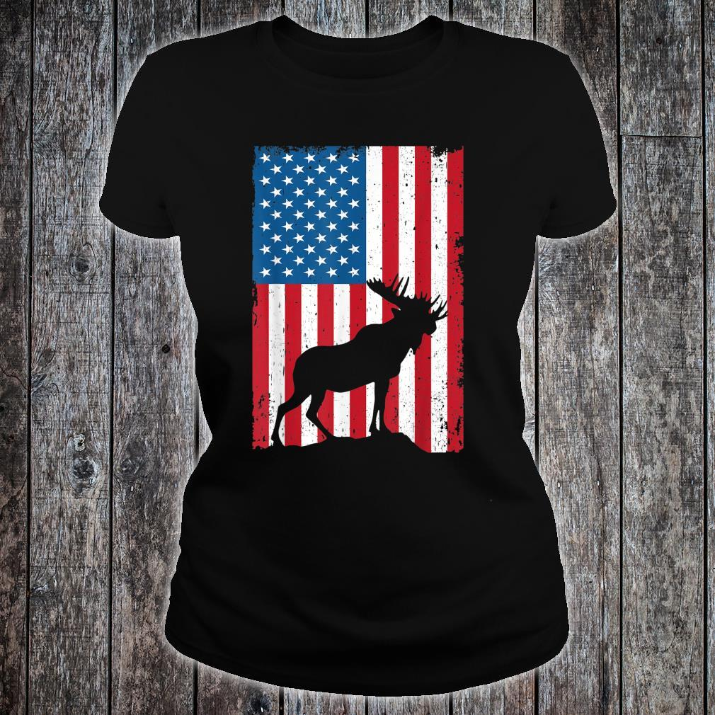 4th July Moose USA Flag Independence Day Shirt ladies tee