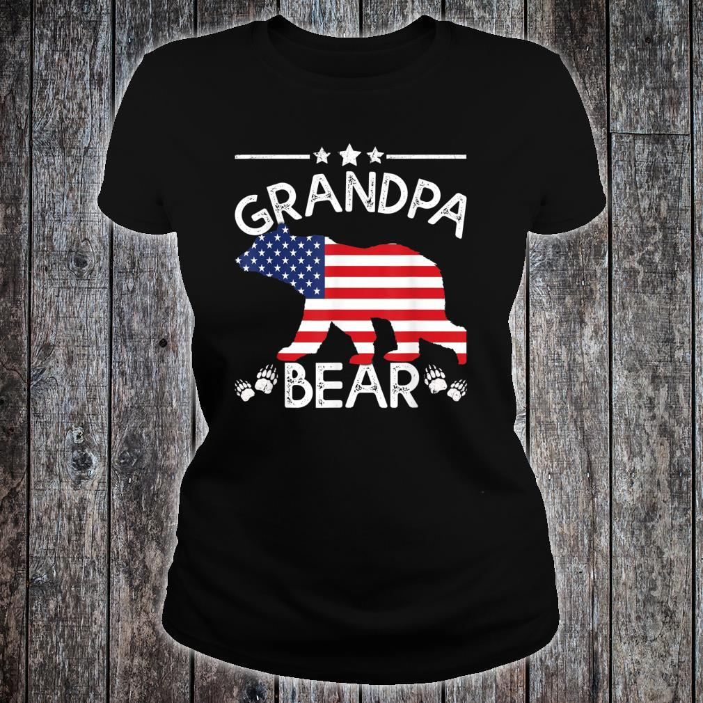 American Flag Grandpa Bear 4th of July shirt Father day Shirt ladies tee