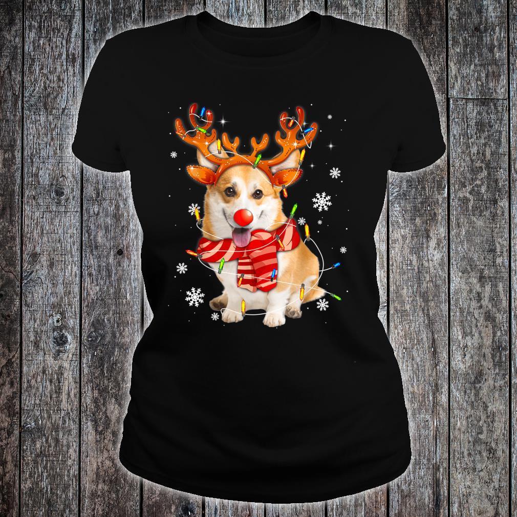 Corgi Dog Christmas Shirt Reindeer Santa Lights Pajamas Xmas Shirt ladies tee