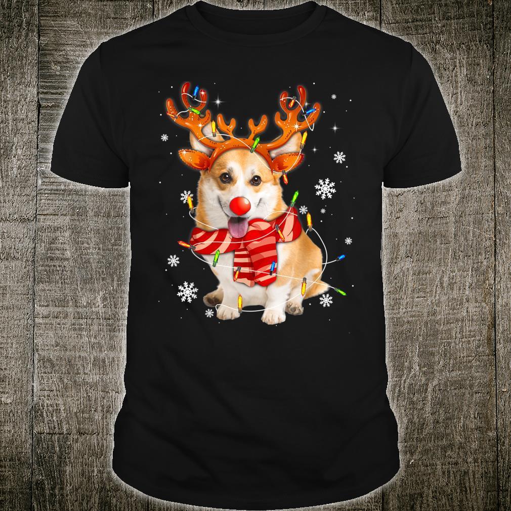 Corgi Dog Christmas Shirt Reindeer Santa Lights Pajamas Xmas Shirt