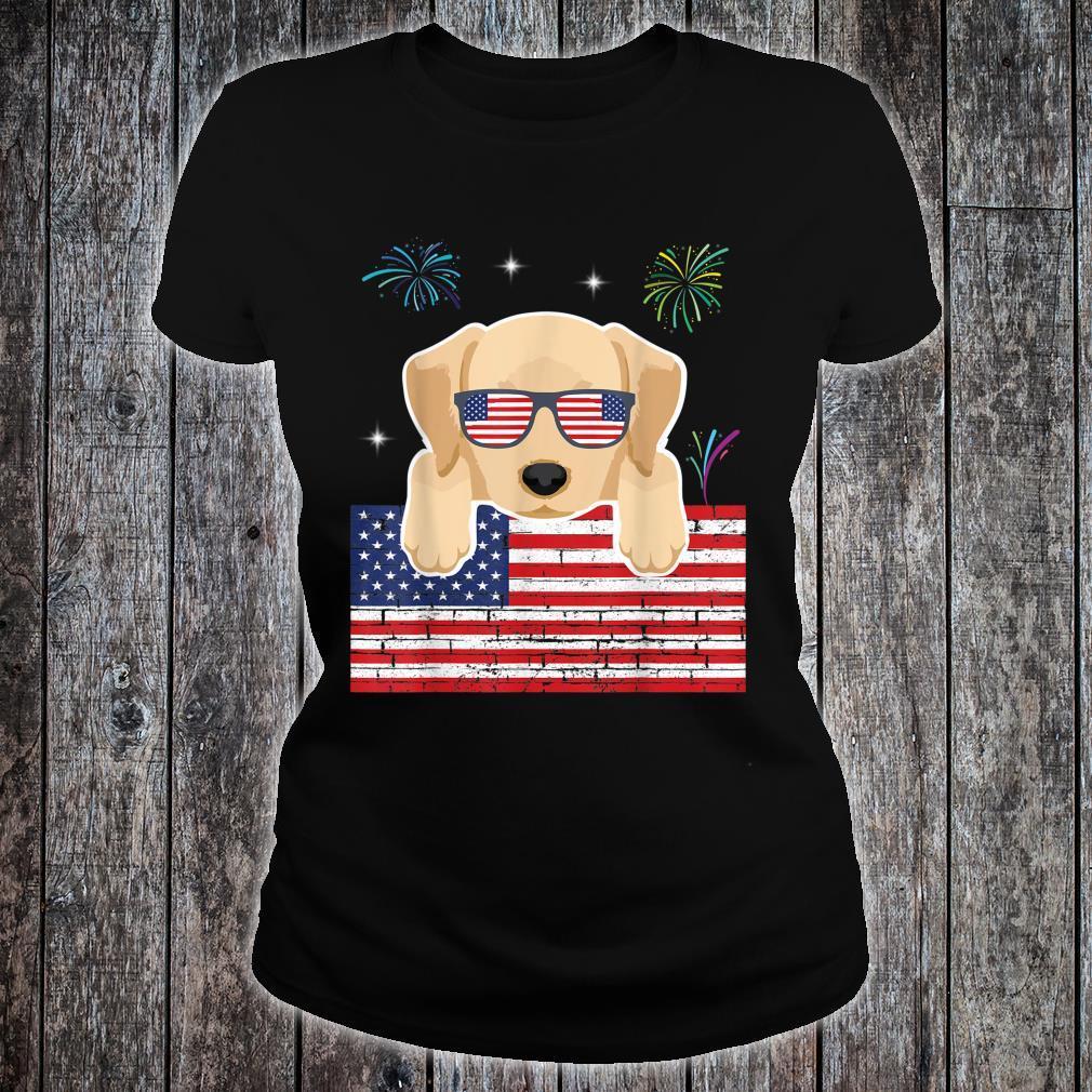 Fireworks Labrador Retriever US Flag Independence Day Shirt ladies tee
