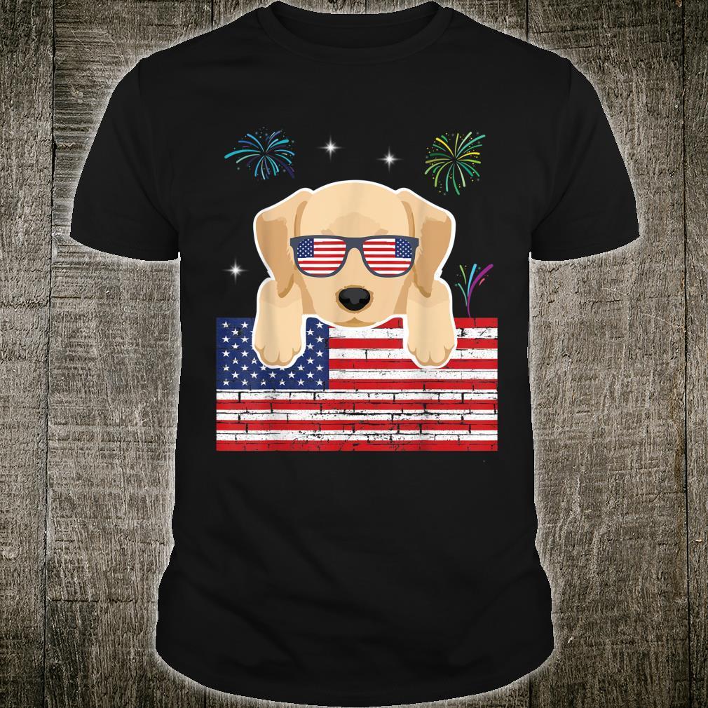 Fireworks Labrador Retriever US Flag Independence Day Shirt