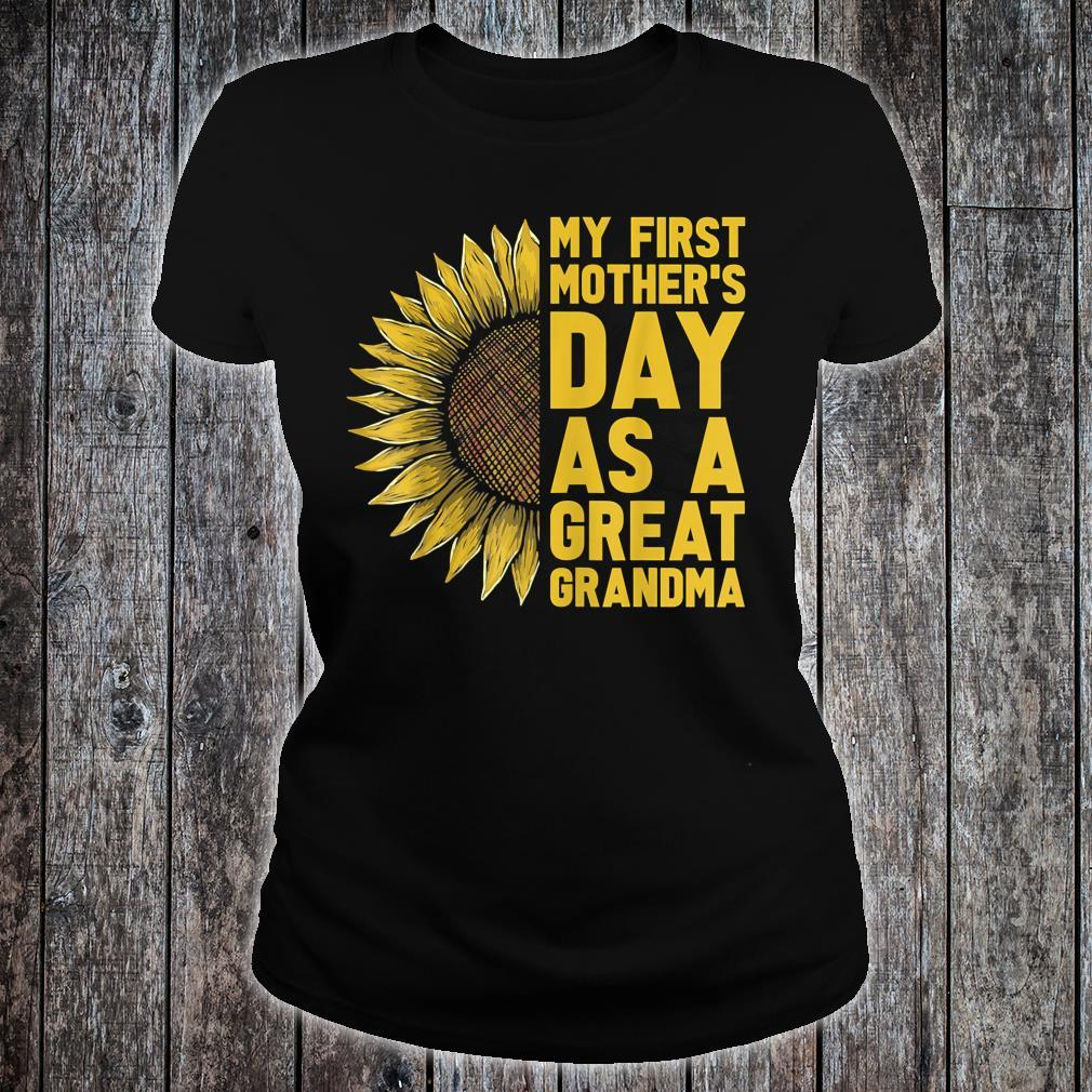 Flower and My First Mother's Day as Great Grandma Shirt ladies tee