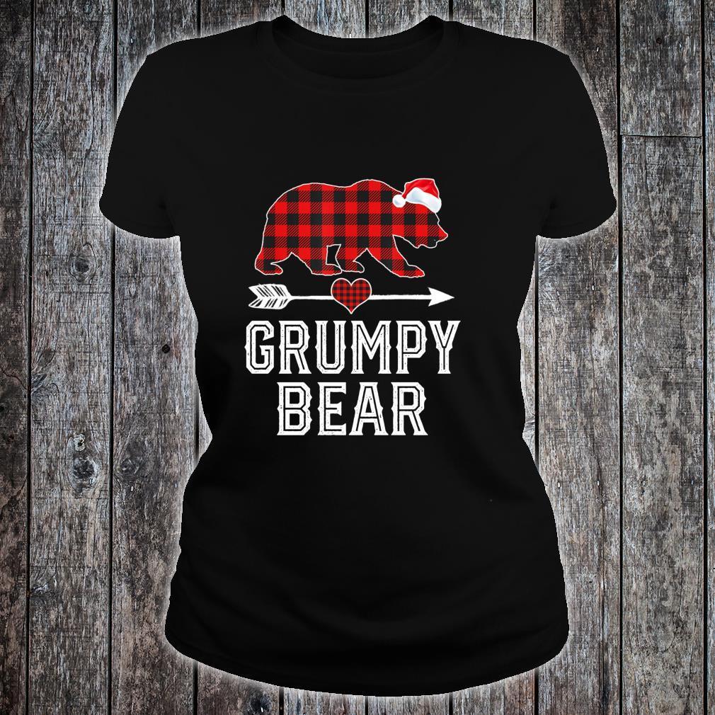 Grumpy Bear Christmas Pajama Red Plaid Buffalo Family Shirt ladies tee