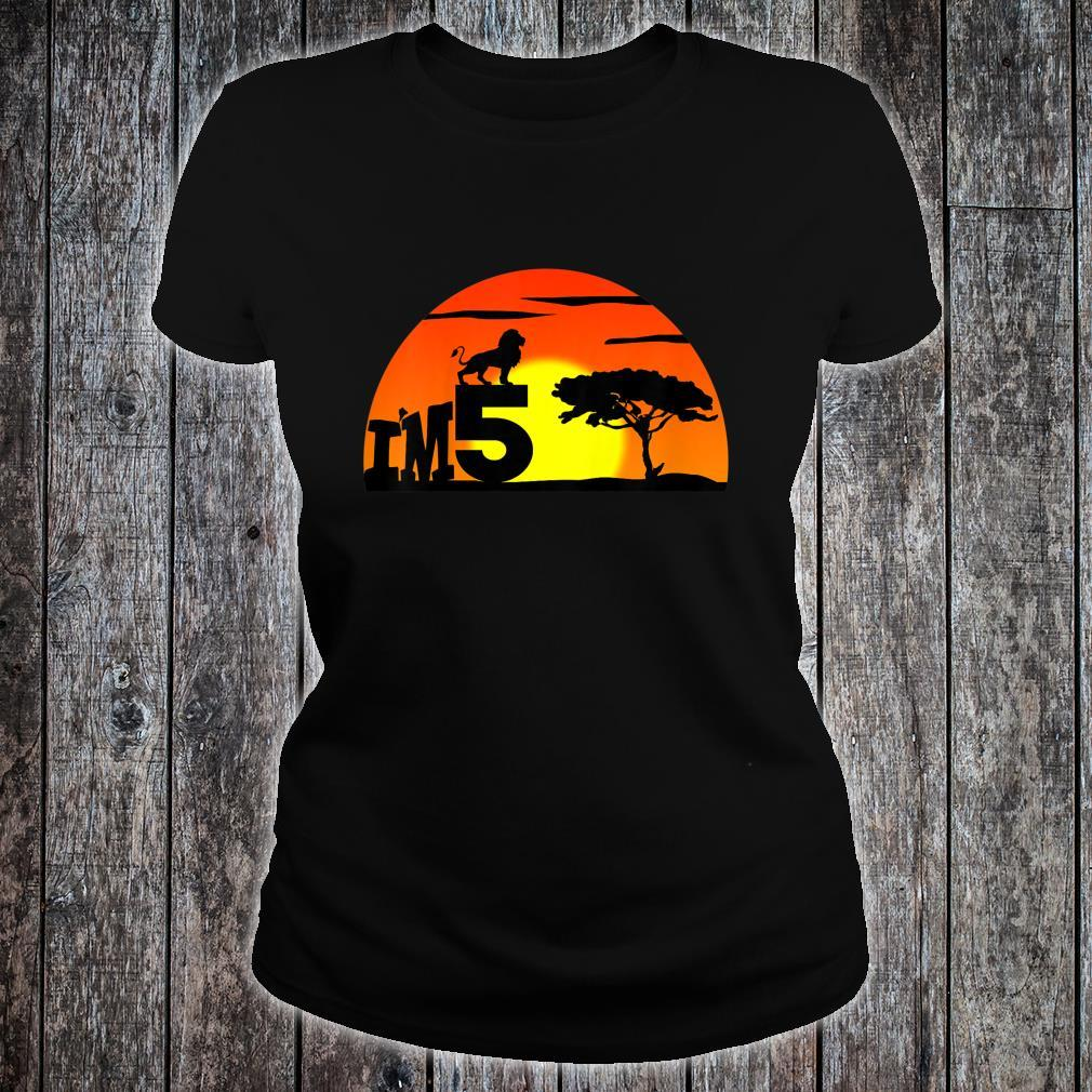 Kids Birthday 5th The king of jungle. Five years old Shirt ladies tee