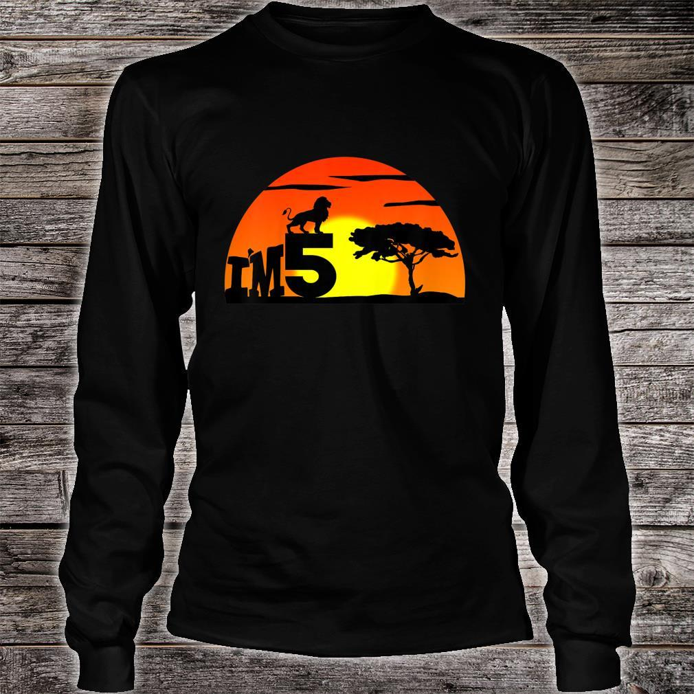 Kids Birthday 5th The king of jungle. Five years old Shirt long sleeved