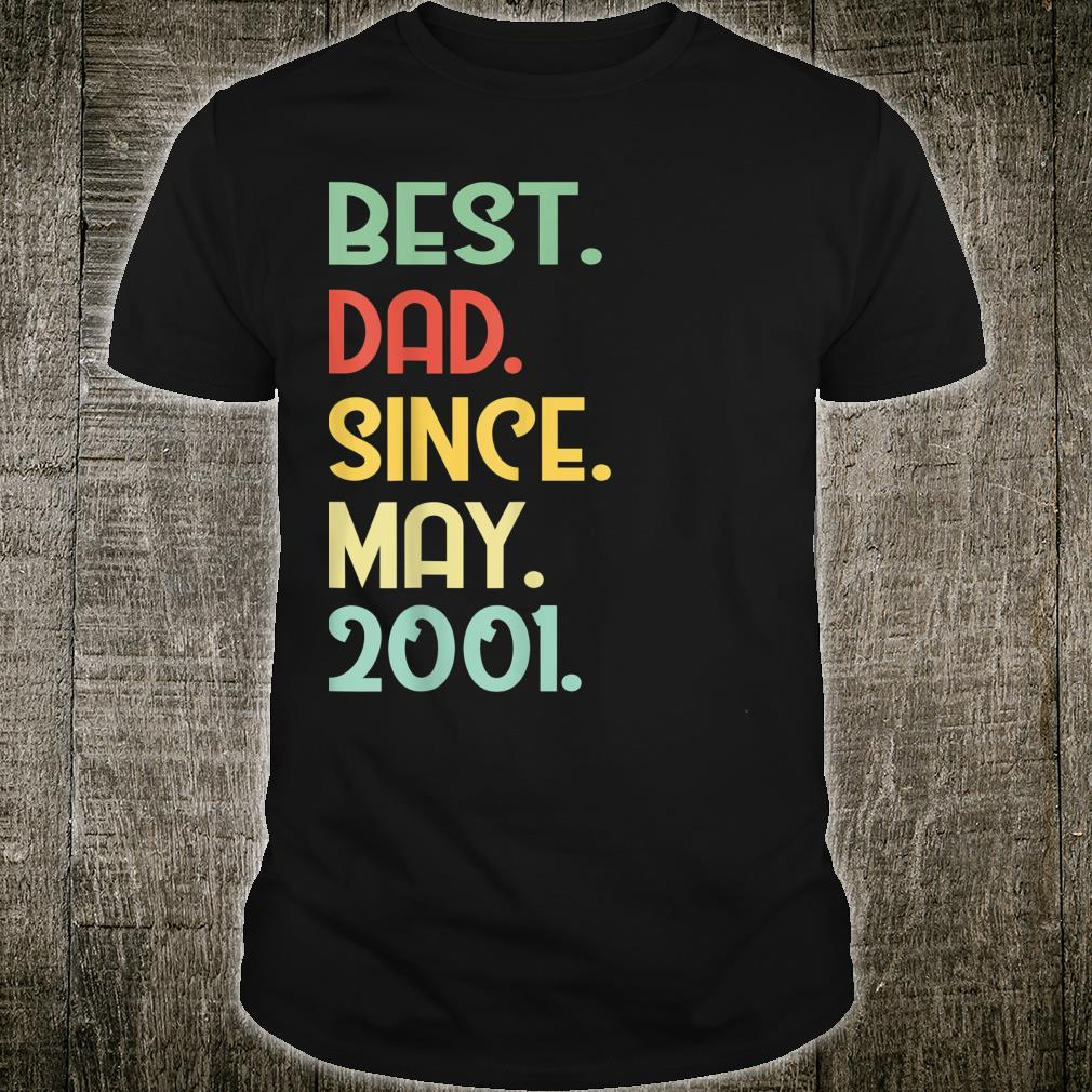 Mens Vintage Best Dad Since May 2001 18th Proud Father Day shirt