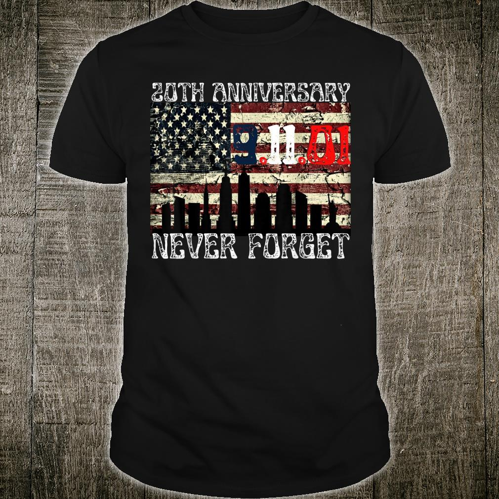 Never Forget 911 20th Anniversary Patriot Day American Flag Shirt