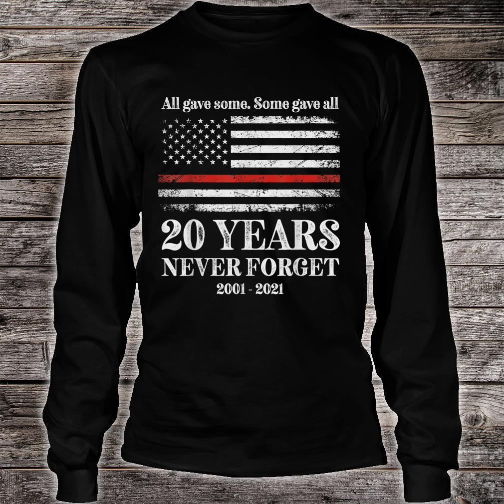 Patriot day 2021 shirt USA flag red line firefighter fireman Shirt long sleeved