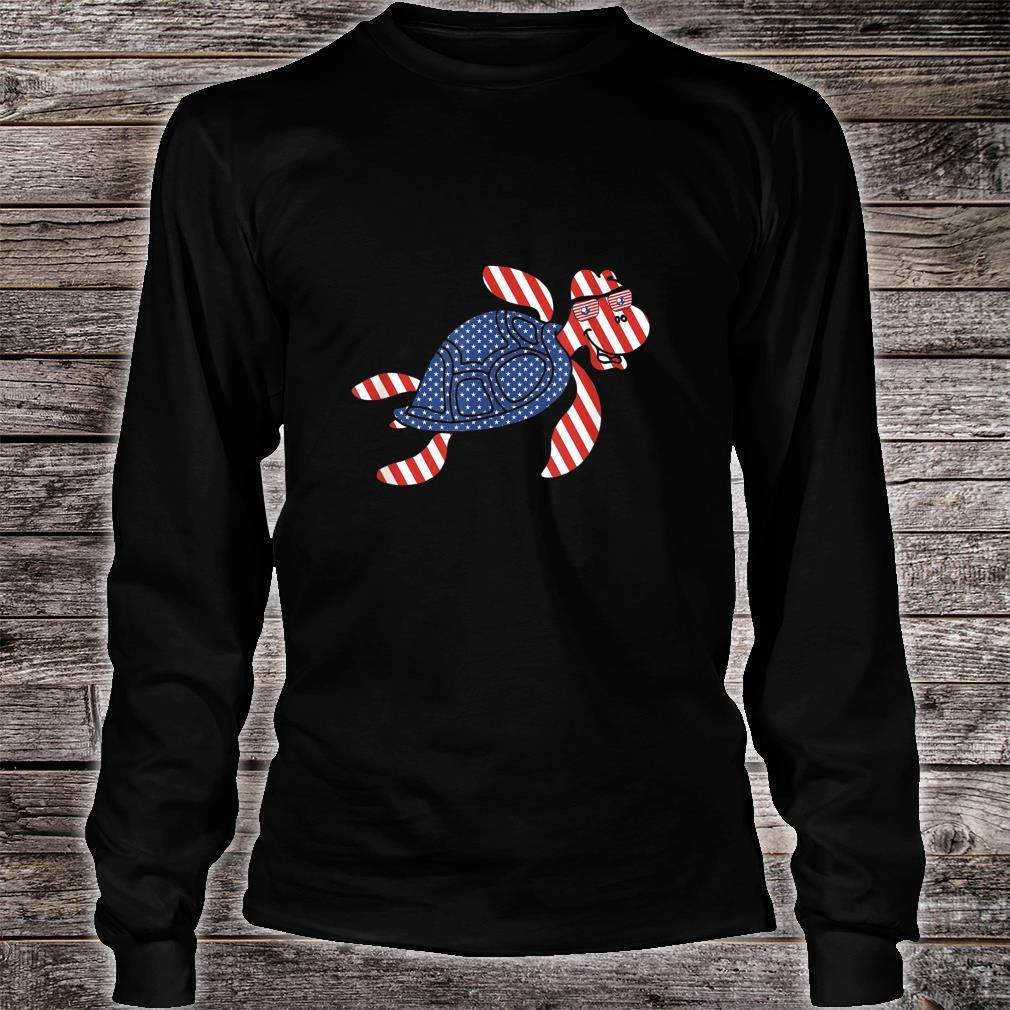 Patriotic Turtle 4th of July Independence Day Shirt long sleeved