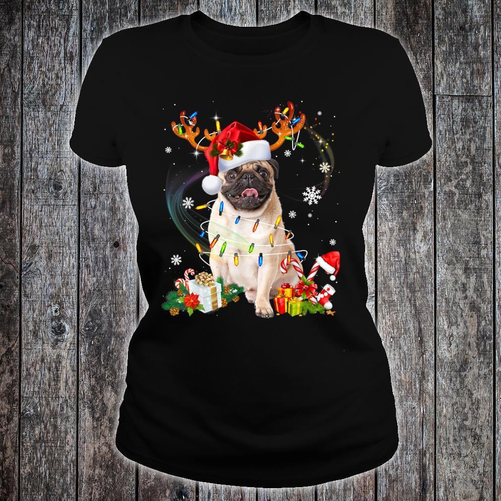 Pug Dog Santa Reindeer Christmas Family Pajamas Dogs Xmas Shirt ladies tee