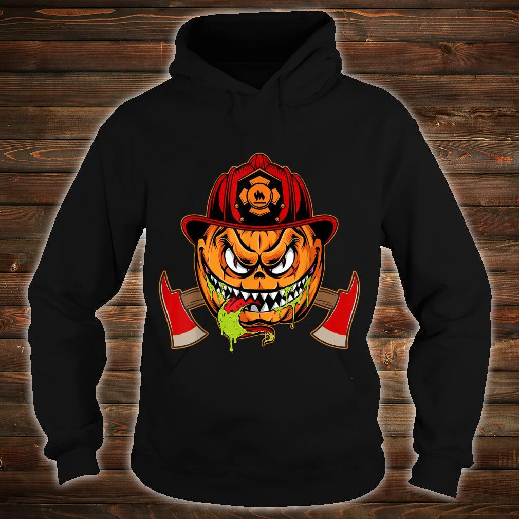Scary pumpkin Face with Firefighter Hat Halloween Costume Shirt hoodie