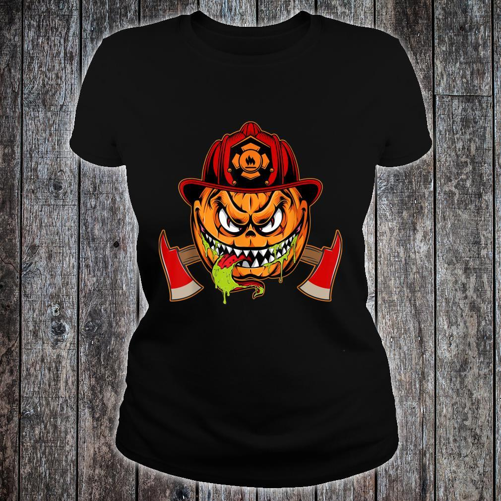 Scary pumpkin Face with Firefighter Hat Halloween Costume Shirt ladies tee