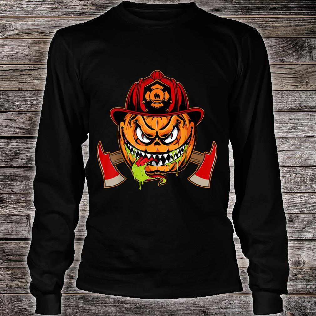 Scary pumpkin Face with Firefighter Hat Halloween Costume Shirt long sleeved