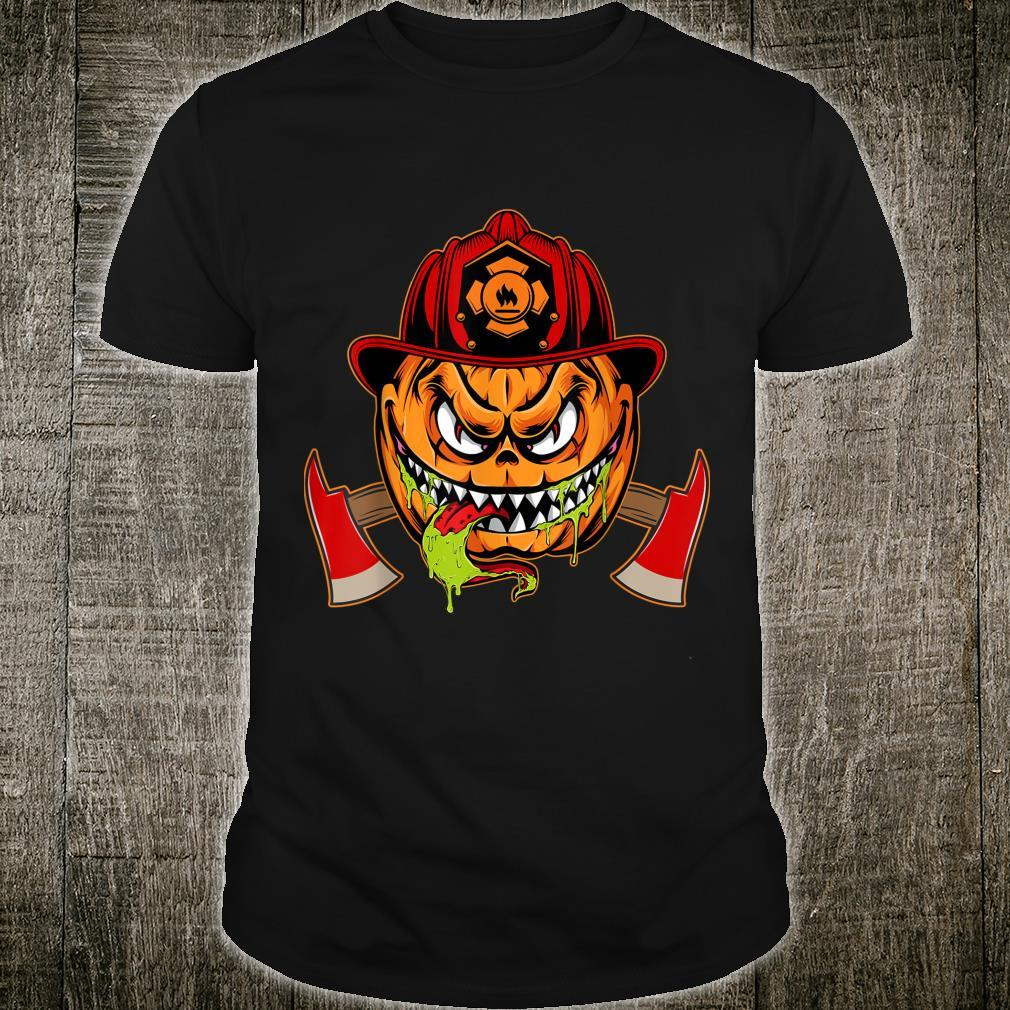 Scary pumpkin Face with Firefighter Hat Halloween Costume Shirt