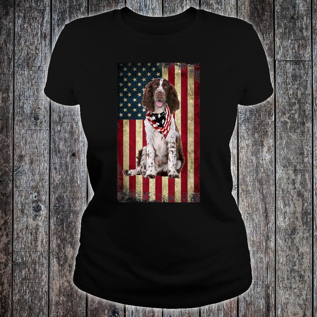 Springer Spaniel America Flag 4th Of July Independence Day Shirt ladies tee